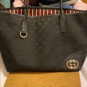 GUCCI black canvas monogram vintage shoulder bag